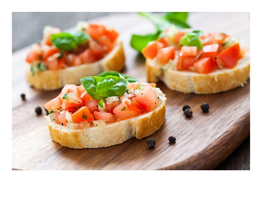 Przepis na karnawałowe przyjęcie: Bruschetta z pomidorami i sosem musztardowo-paprykowym